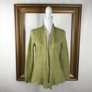 EILEEN FISHER green knit open drape cardigan, PS